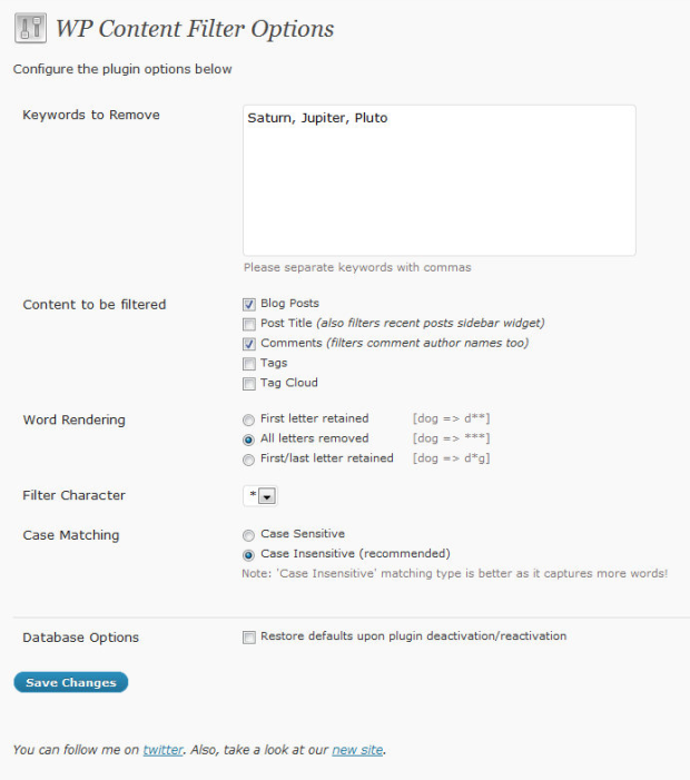 WP Content Filter plugin
