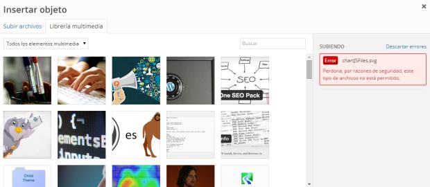 Error SVG librería multimedia WordPRess