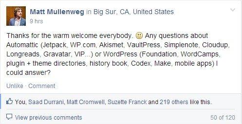 Matt Mullenweg joins the Advanced WordPress Facebook group