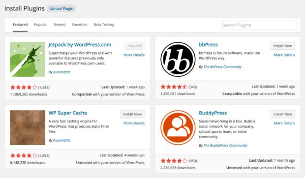 Iconos de plugins de WordPress