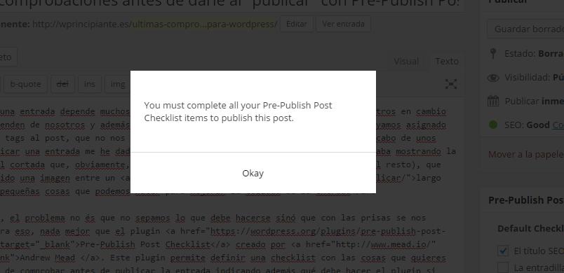 Error Pre-Publish Post : Faltan acciones a completar