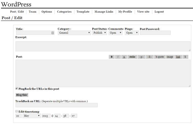 Interfaz administración WordPress 0.71
