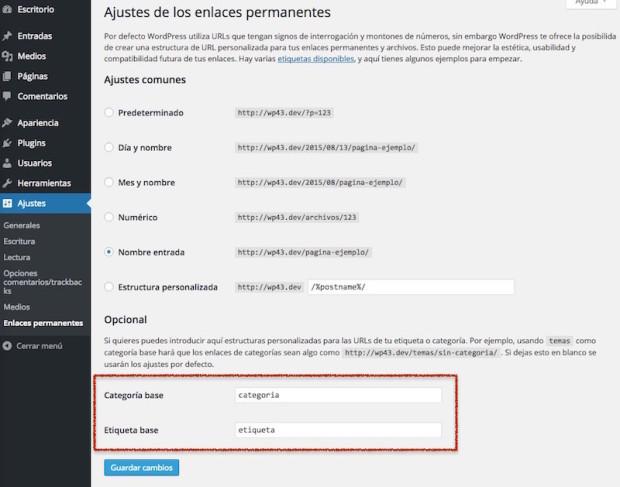 Cambiar category y tag por categoría y etiqueta en las URLs de WordPress