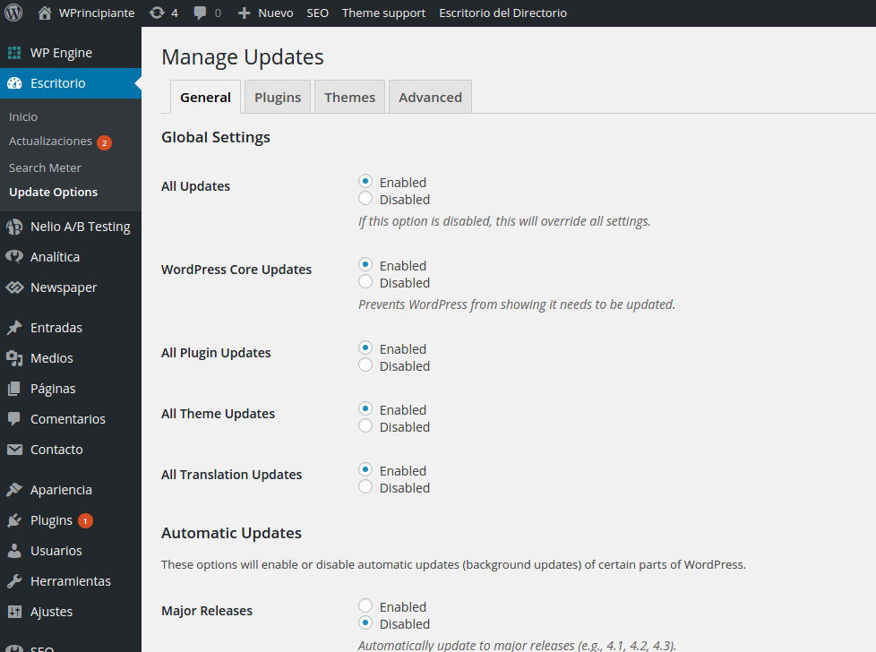 Captura de pantalla de Easy Updates Manager