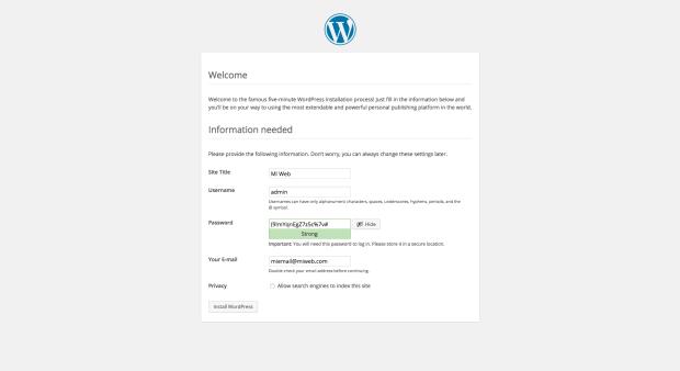 Ventana del instalador de WordPress