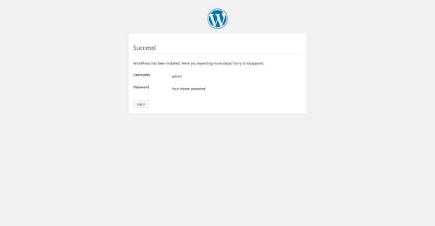 Ventana de finalización del instalador de WordPress