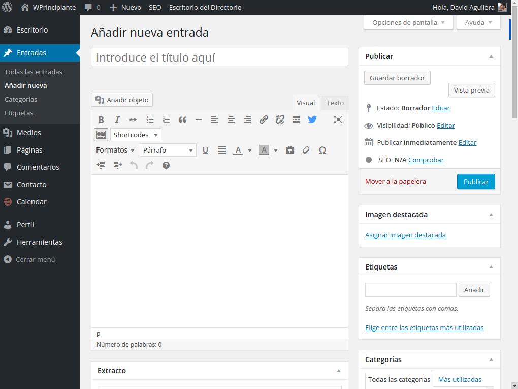Captura de pantalla del editor de entradas por defecto de WordPress.