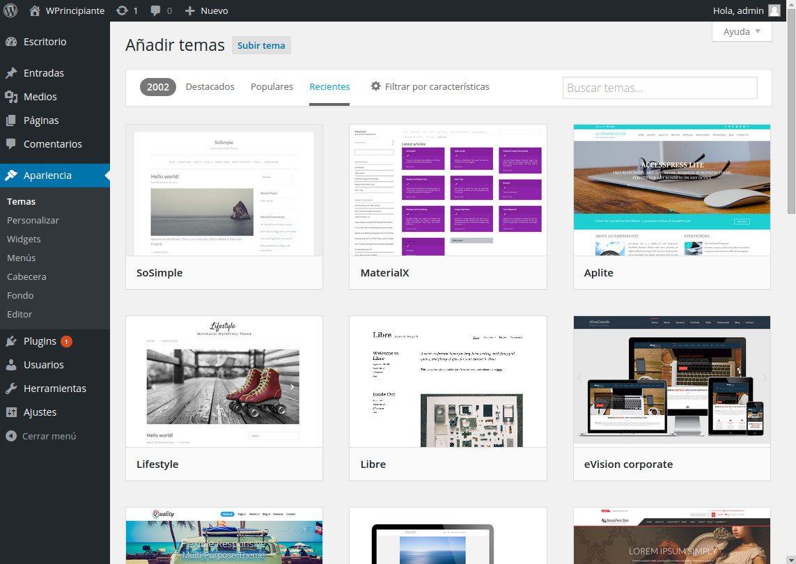 Explorador de temas integrado en WordPress