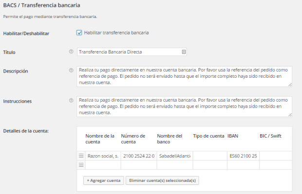 woocommerce transferencia bancaria
