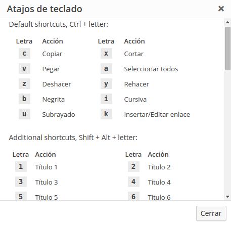 Atajos de teclado del editor visual