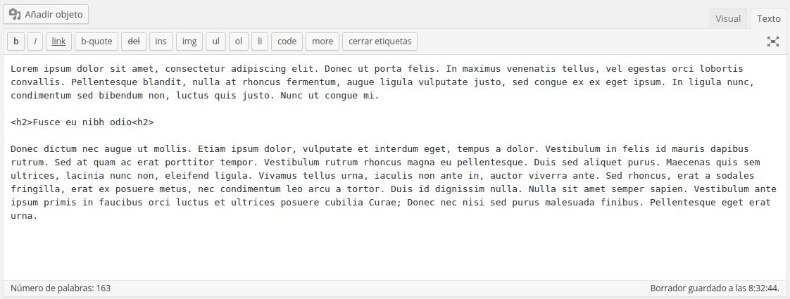Editor HTML de entradas