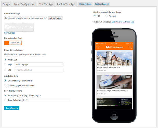 Diseño de tu app con Mobiloud