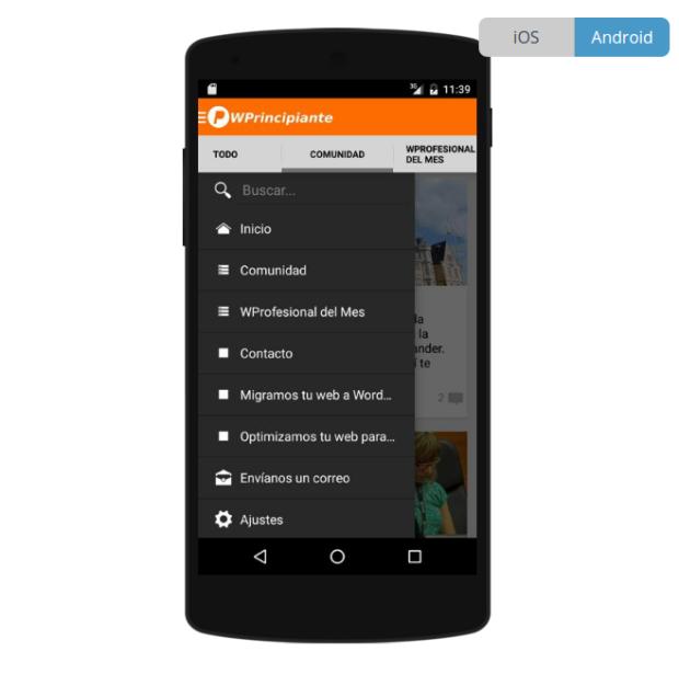 Simulación de la app en un móbil