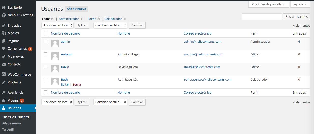 Lista de usuarios creados