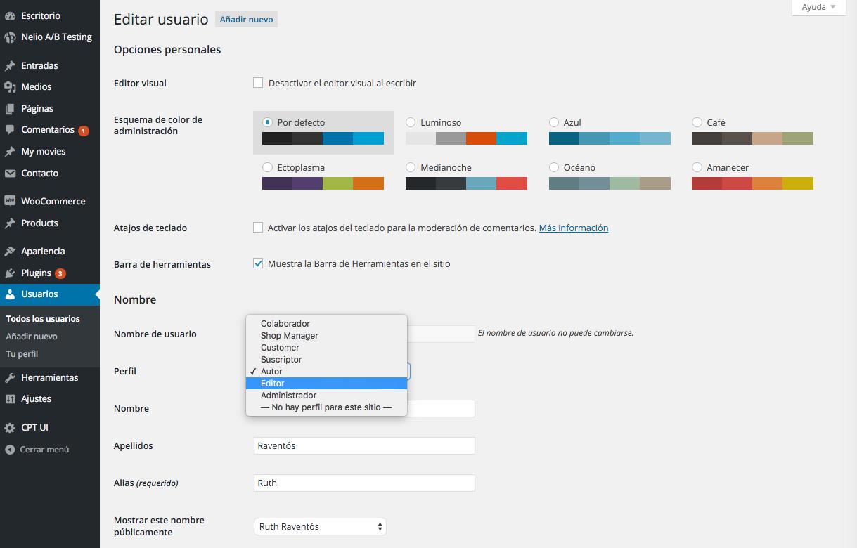 Editar usuario y modificar perfil