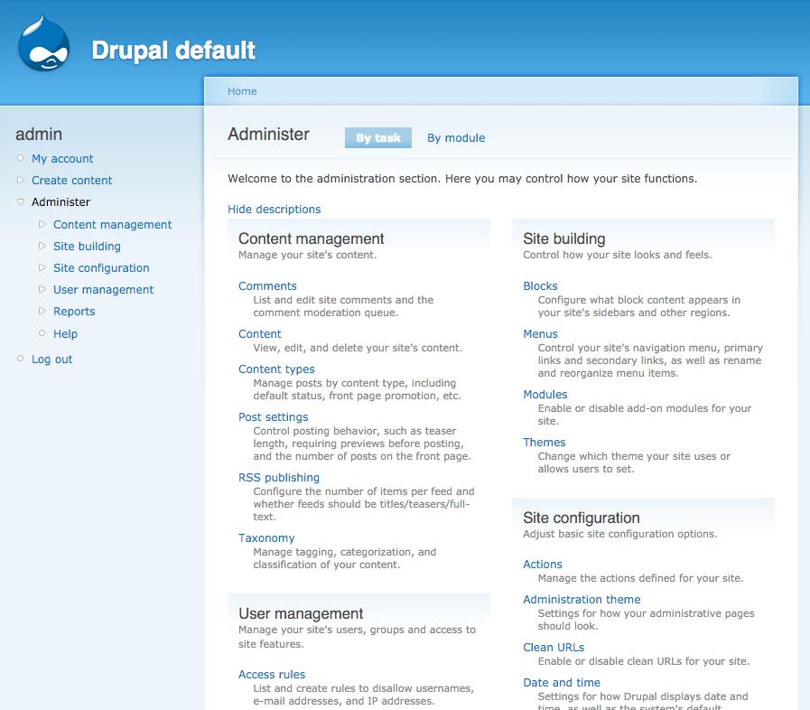 Panel de configuraciones de Drupal