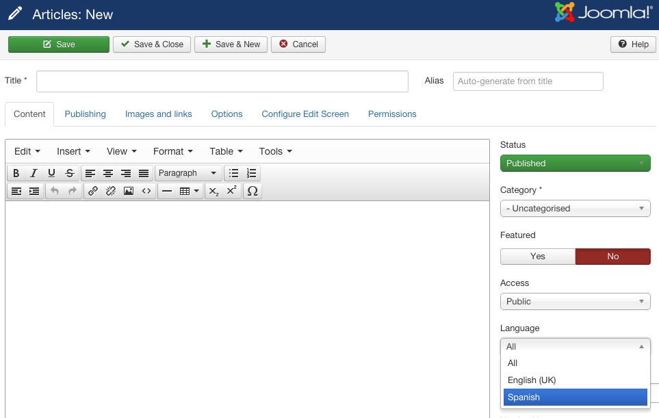 Selección de idioma en editor de contenidos de joomla.