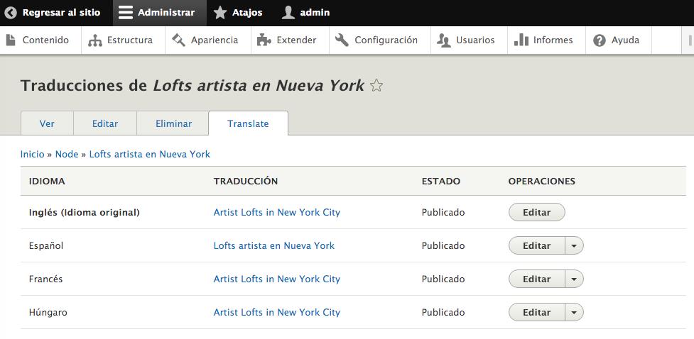 Interfaz de traducción de artículos en Drupal.
