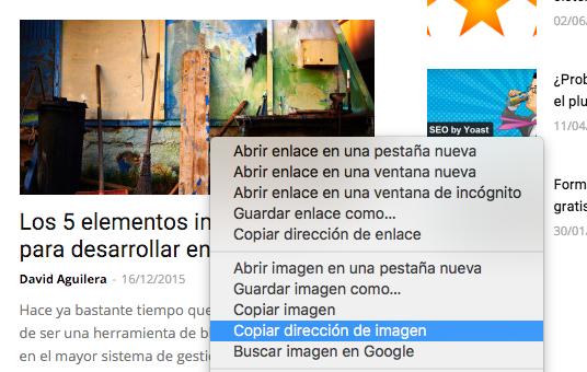 Copiar la dirección web de una imagen es muy sencillo.