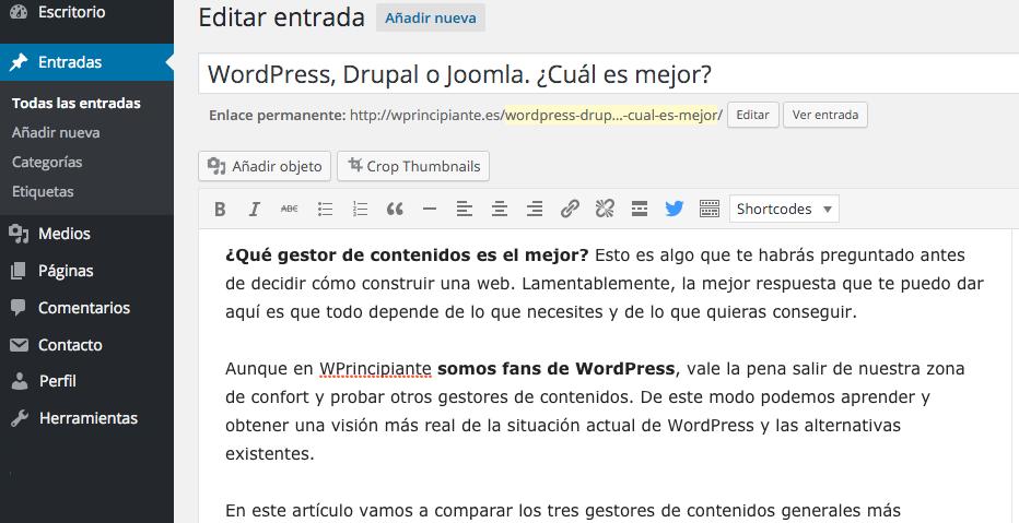 Interfaz de usuario de WordPress