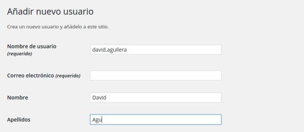 Creación de un nuevo usuario