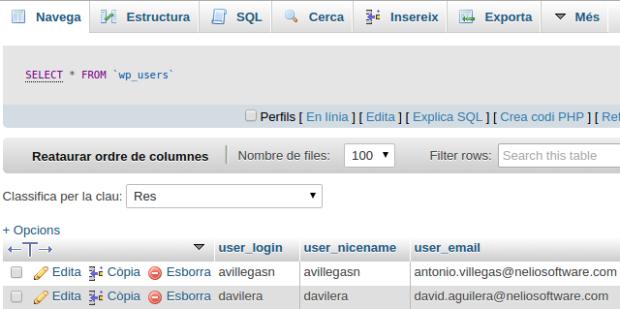 Captura de pantalla de la tabla wp_users en phpMyAdmin