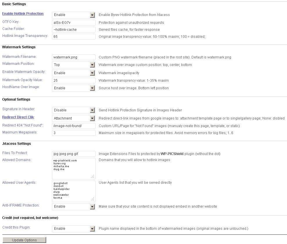 Pantalla de configuración del plugin ByREV WP-PICShield