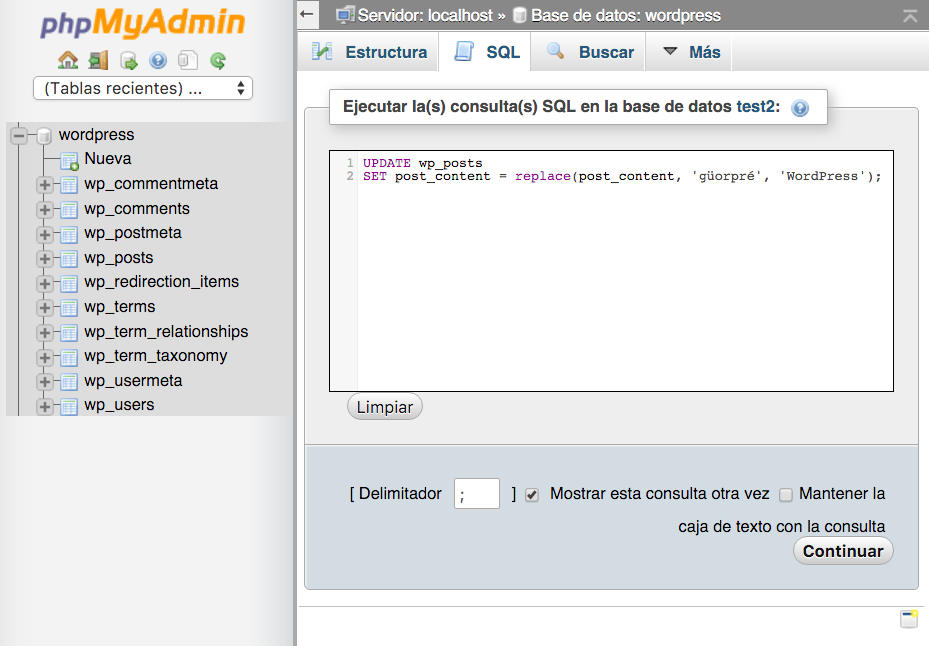 Editor de sentencias SQL dentro de phpMyAdmin