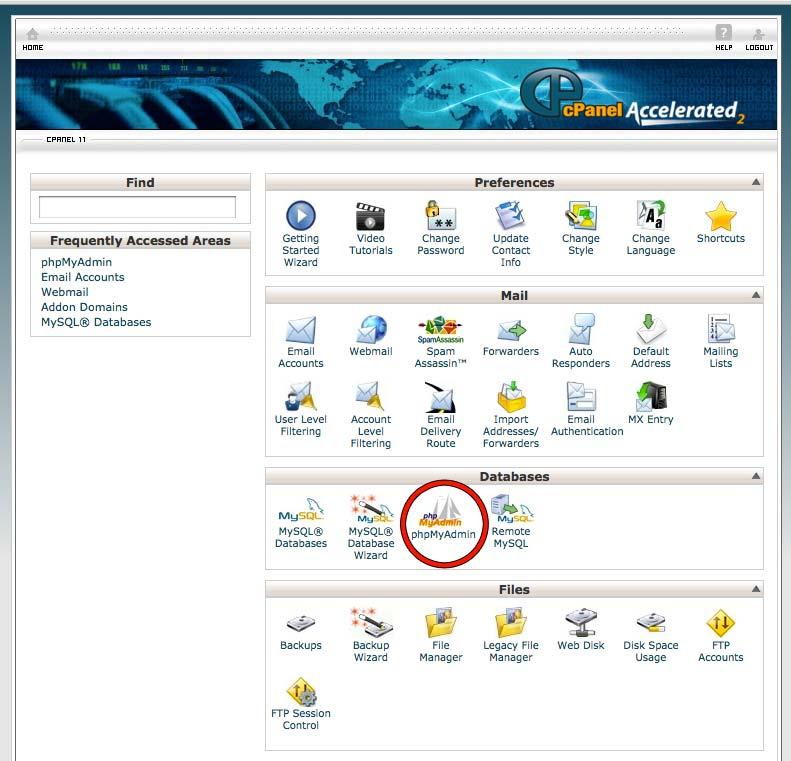 cPanel con la sección de bases de datos y el icono de phpMyAdmin