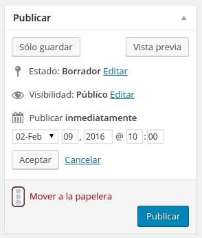 Modificar la fecha para programar una entrada en WordPress