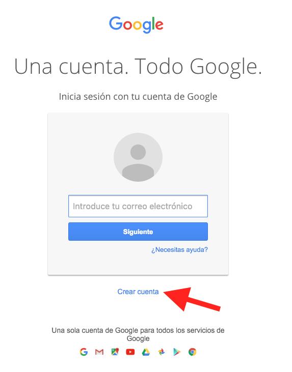 Crear Cuenta en Google