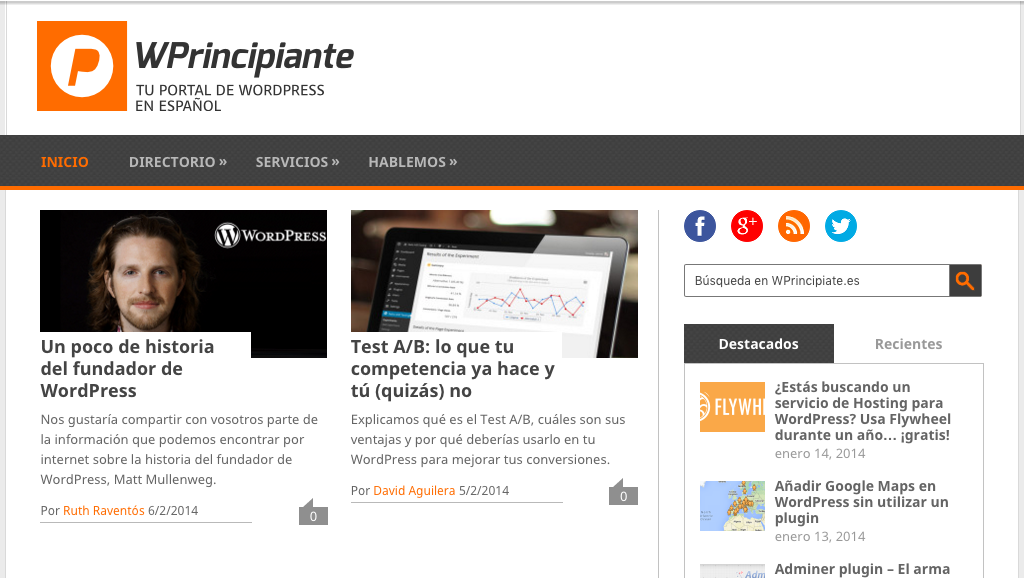 Captura de pantalla de febrero del 2014 de WPrincipiante.es