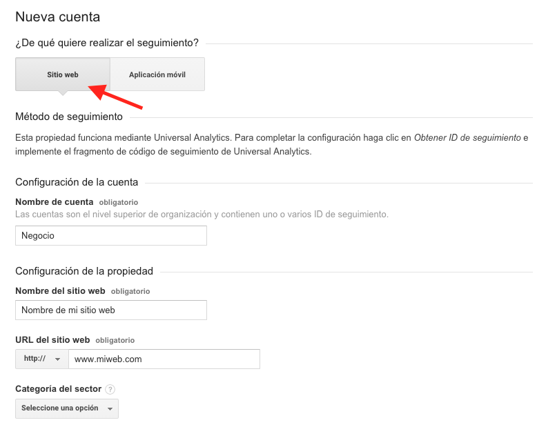 Nueva cuenta en Google Analytics