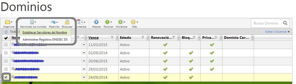 Listado de servidores de dominio