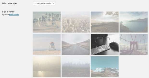 Colección de imágenes predefinidas de WP Maintenance Mode
