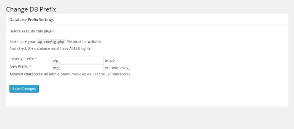 Captura de la interfaz del plugin Change DB Prefix.
