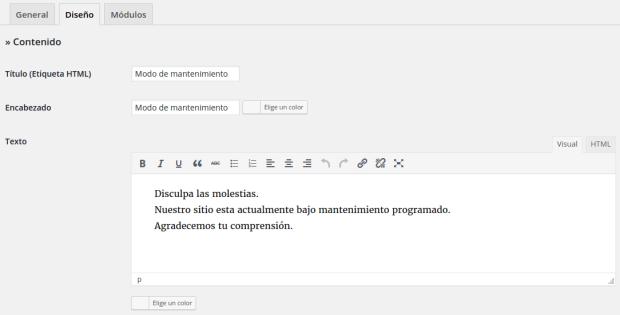 Configuración de los textos en WP Maintenance Mode