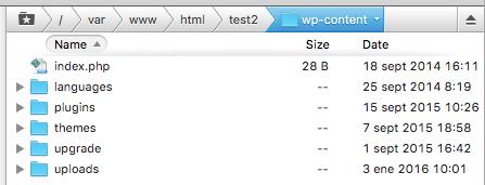 Acceso FTP al directorio wp-contents