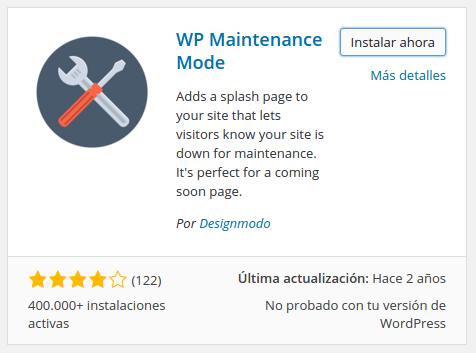 Captura de pantalla de WP Maintenance Mode