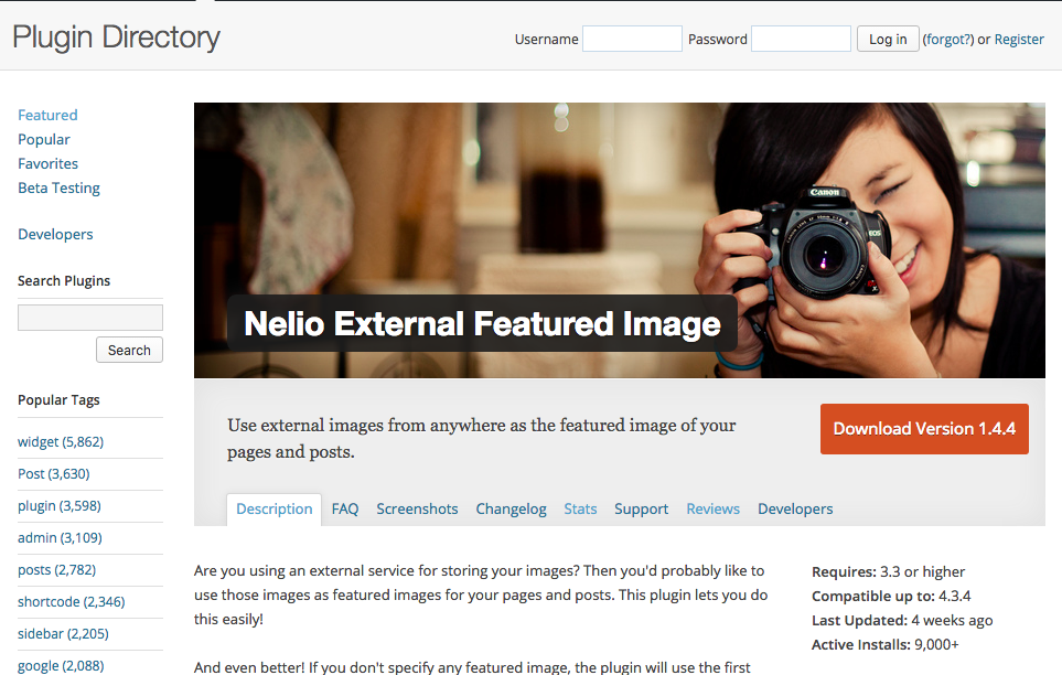 Nelio External Featured Imagen en el Directorio de plugins de WordPress