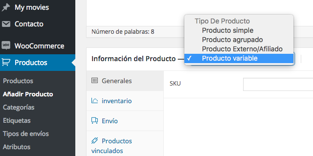 Añadir Producto variable en WooCommerce