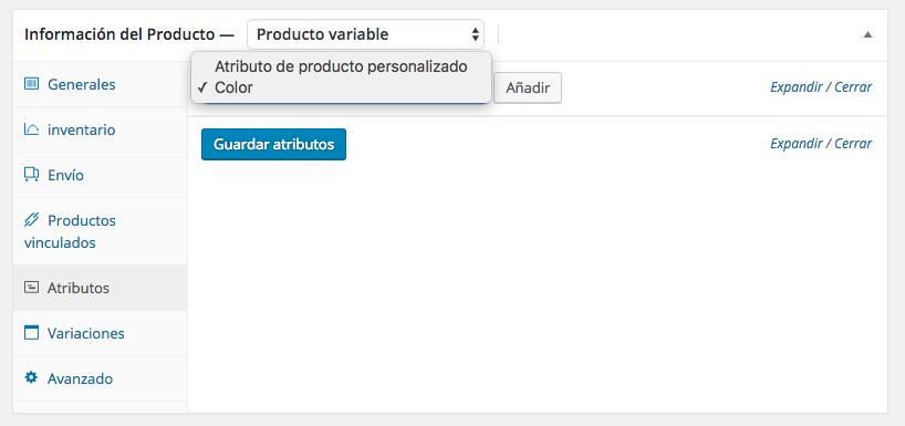 Seleccionar atributo de variación en WooCommerce