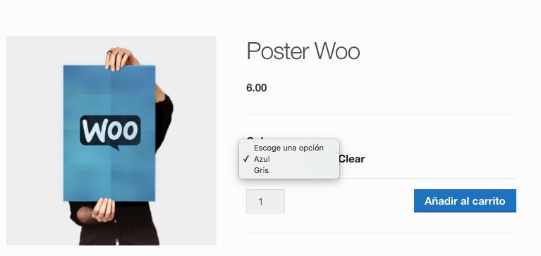 Seleccionando el póster de color azul
