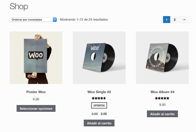 Storefront en la que se visualizan los productos