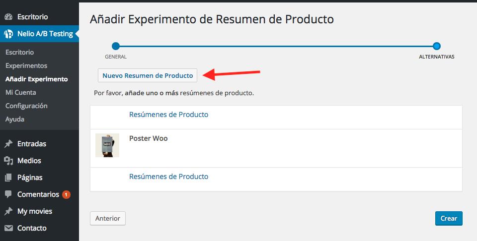 Añadir nuevo Resumen de Producto