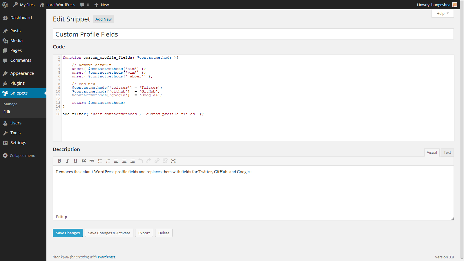Captura del plugin Code Snippets para WordPress.