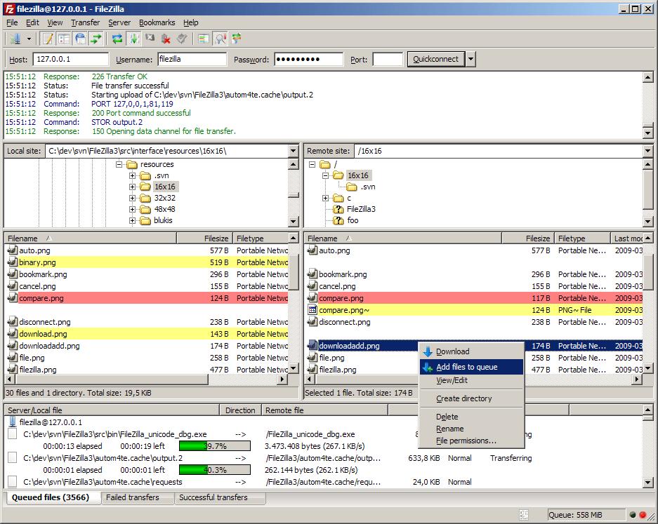 Captura de pantalla de FileZilla.