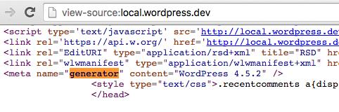 Inspección del tag generator en el código fuente de WordPress.