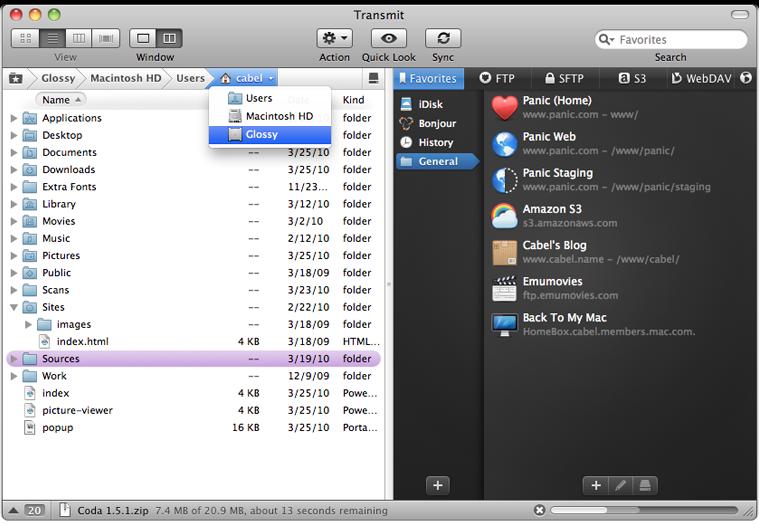 Captura de pantalla de Transmit.