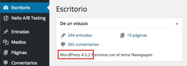Versión de WordPress en el Escritorio.